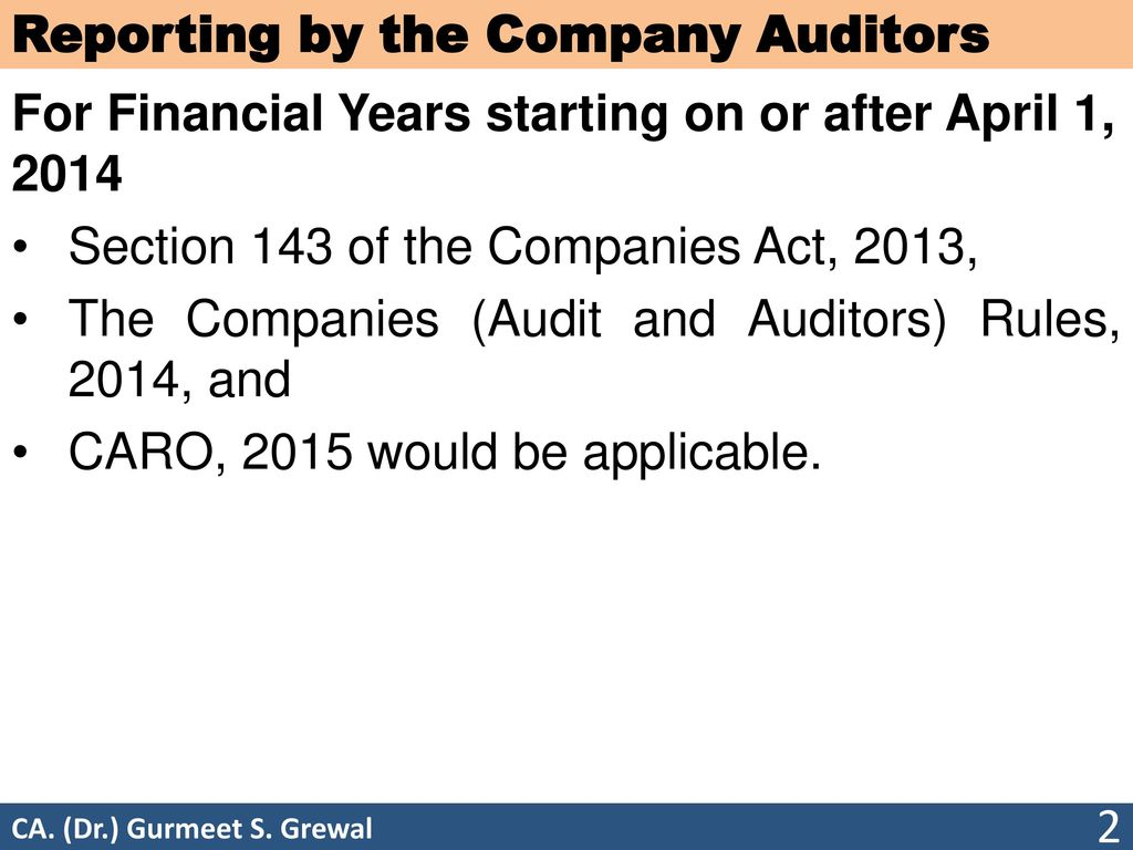 reporting by the company auditors