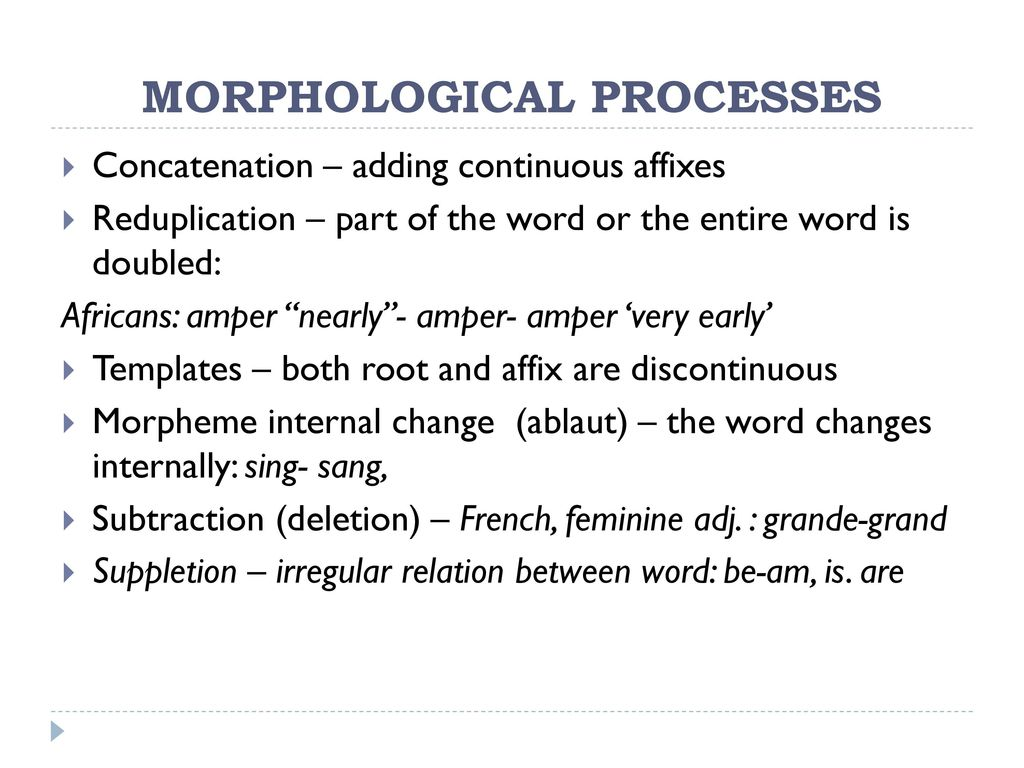 morphological processes This page is an extract from the lingualinks libraryversion 50 published on cd-rom by sil international, 2003.