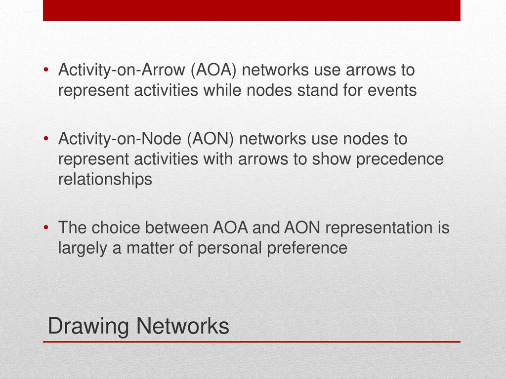 Project planning acquisition reading pp 326 ppt download activity on arrow aoa networks use arrows to represent activities while nodes pooptronica