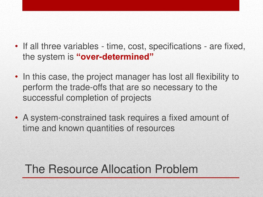 resource allocation problem Resource allocation in project management by cristina selaru, msc student  point of view how the problem of resource allocation can be formulated and find real.
