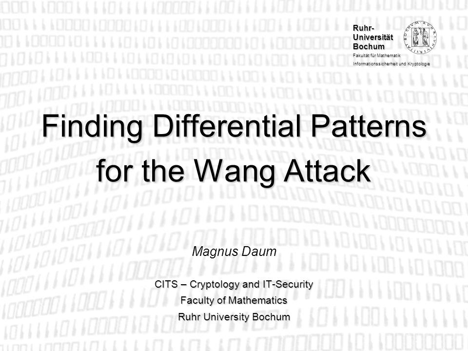 Finding Differential Patterns for the Wang Attack