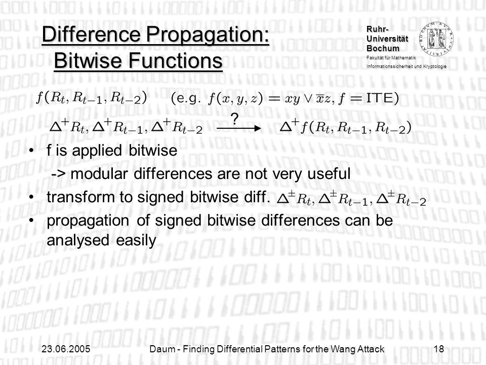 Difference Propagation: Bitwise Functions