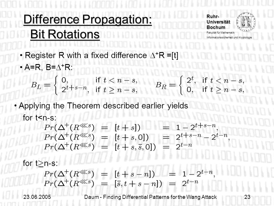 Difference Propagation: Bit Rotations