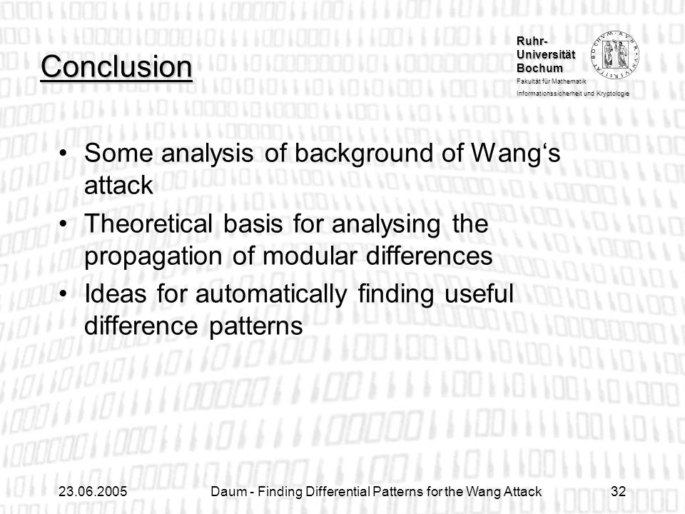 Daum - Finding Differential Patterns for the Wang Attack