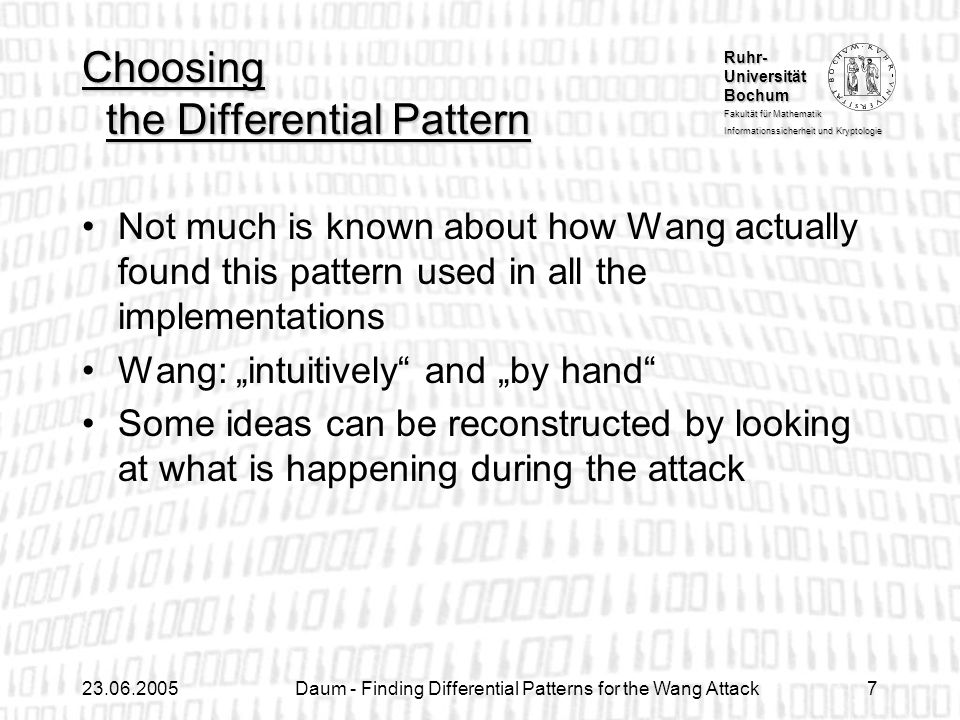 Choosing the Differential Pattern