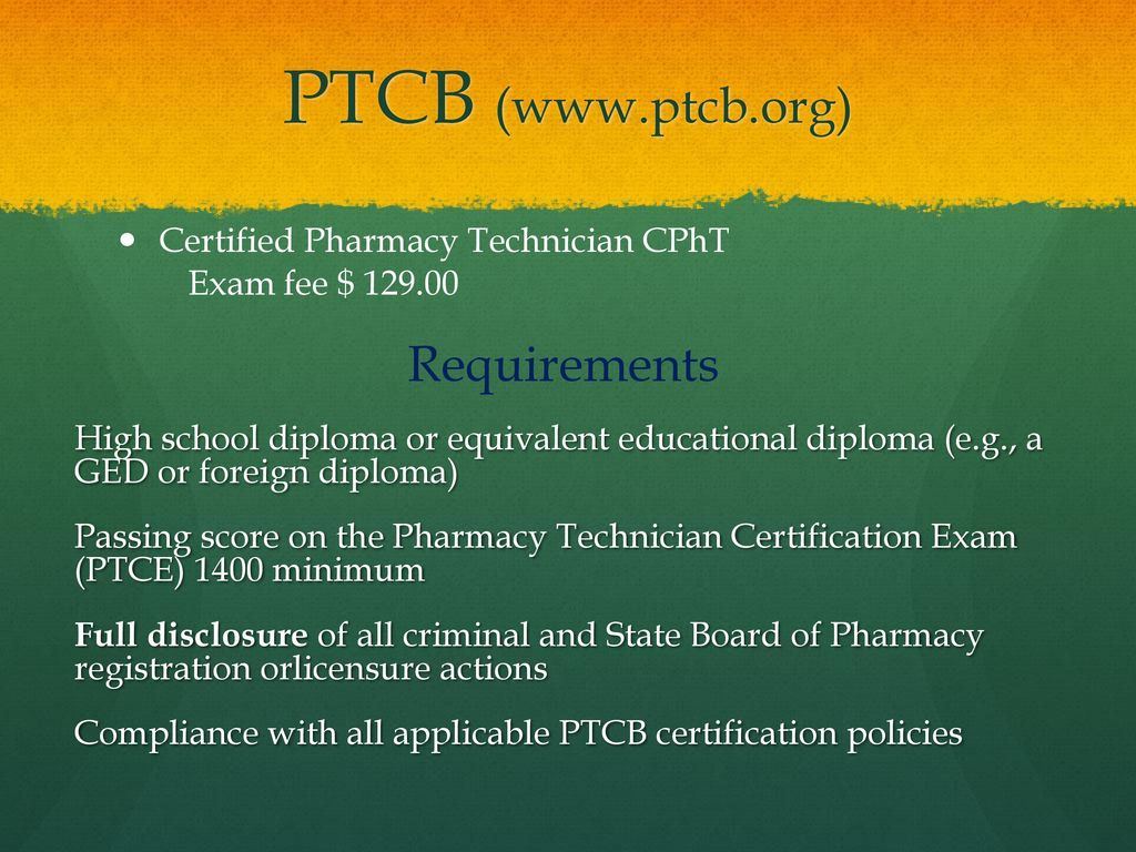 Kaduceus pharmacy technician course school year ppt download ptcb ptcb certified pharmacy technician cpht xflitez Choice Image