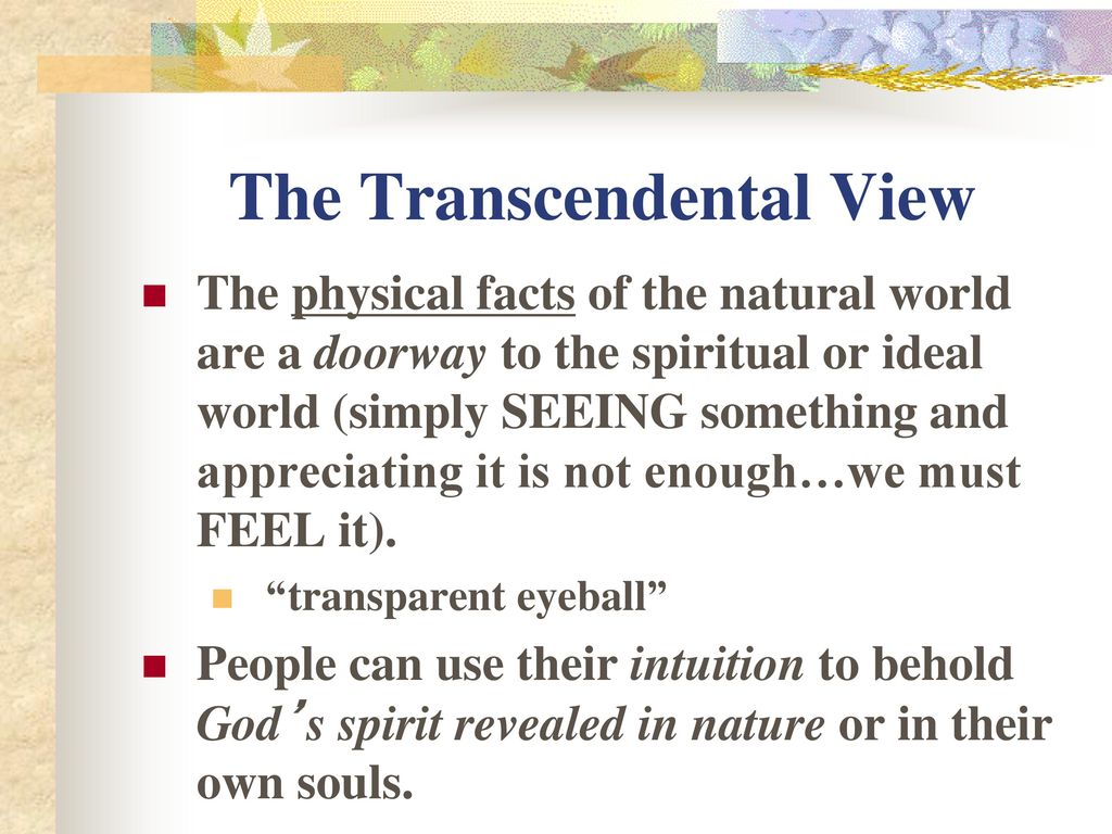 facts and the negative views of transcendentalism Transcendentalism was rooted in the or what michael hoffman calls negative what emerson's supporters simply called the new views.