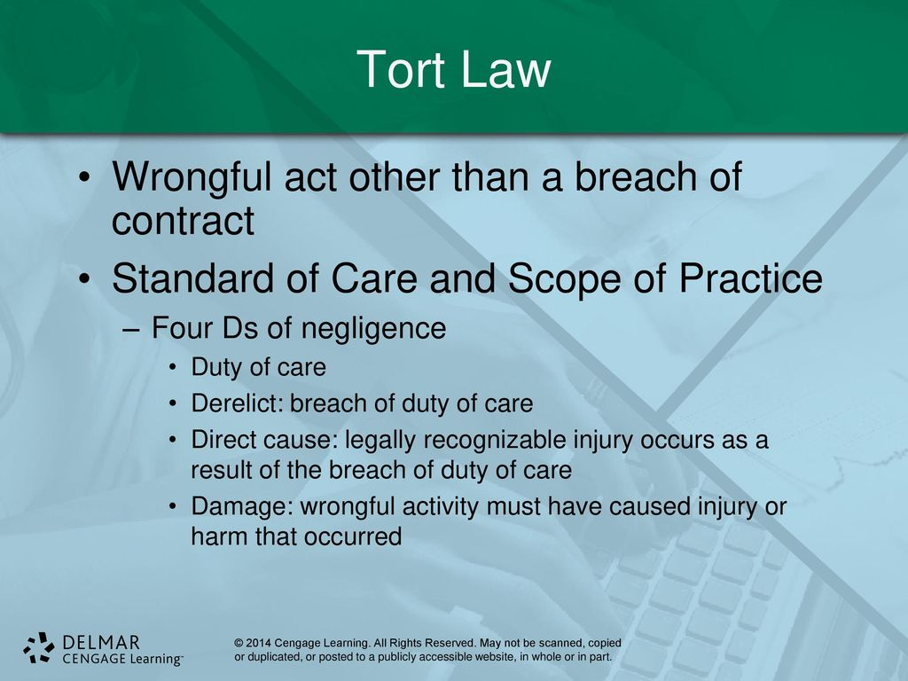 tort law essay example In line with this, one of the laws, policies and regulations that have been put in place is the tort law essentially, the tort law is meant to offer guidance in regard to civil wrongs that are committed against a person.