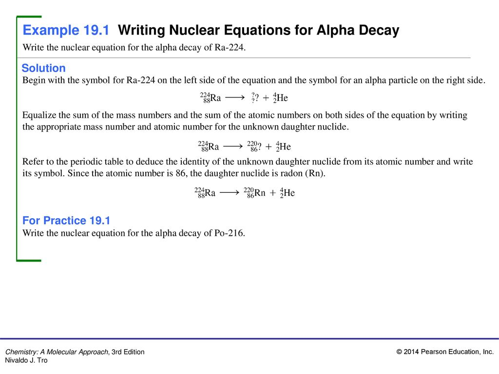 Example 191 Writing Nuclear Equations For Alpha Decay Ppt Video