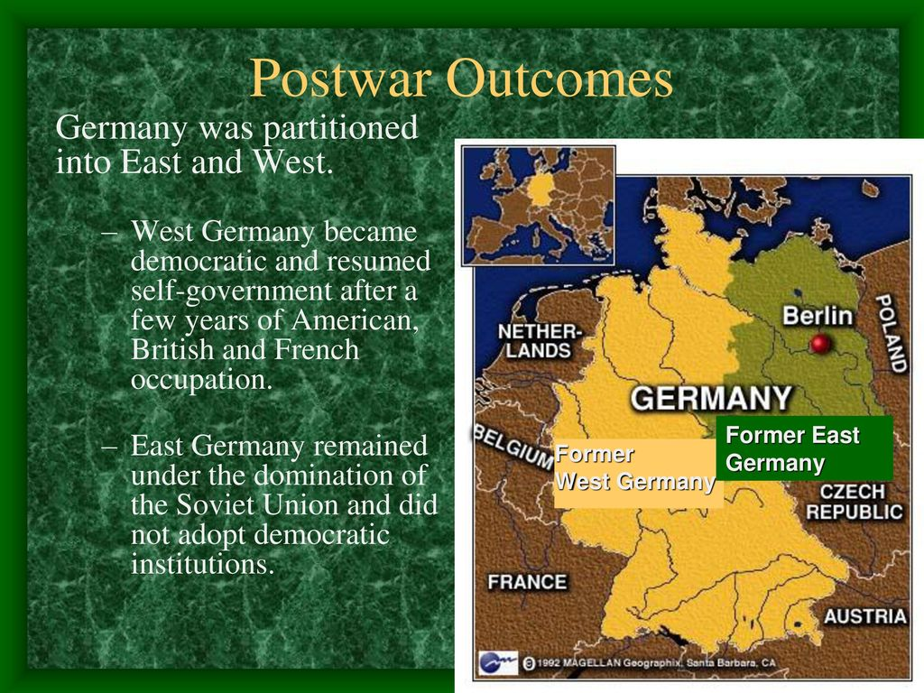 why did germany become a democratic Why was it constructed by 1949, germany had become two separate countries - the federal republic of germany (west germany), run by the allies, and the german democratic republic (east germany), run by the soviet union.