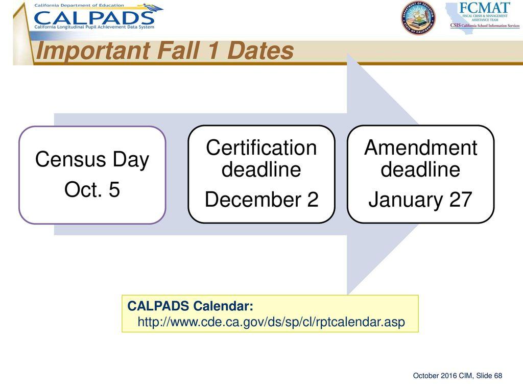 Calpads information meeting ppt download 68 certification deadline xflitez Images