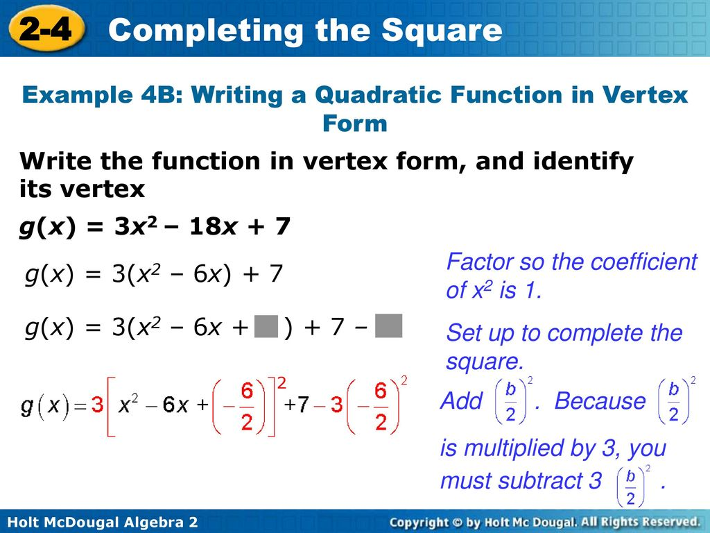 2 4 completing the square warm up lesson presentation lesson quiz example 4b writing a quadratic function in vertex form falaconquin