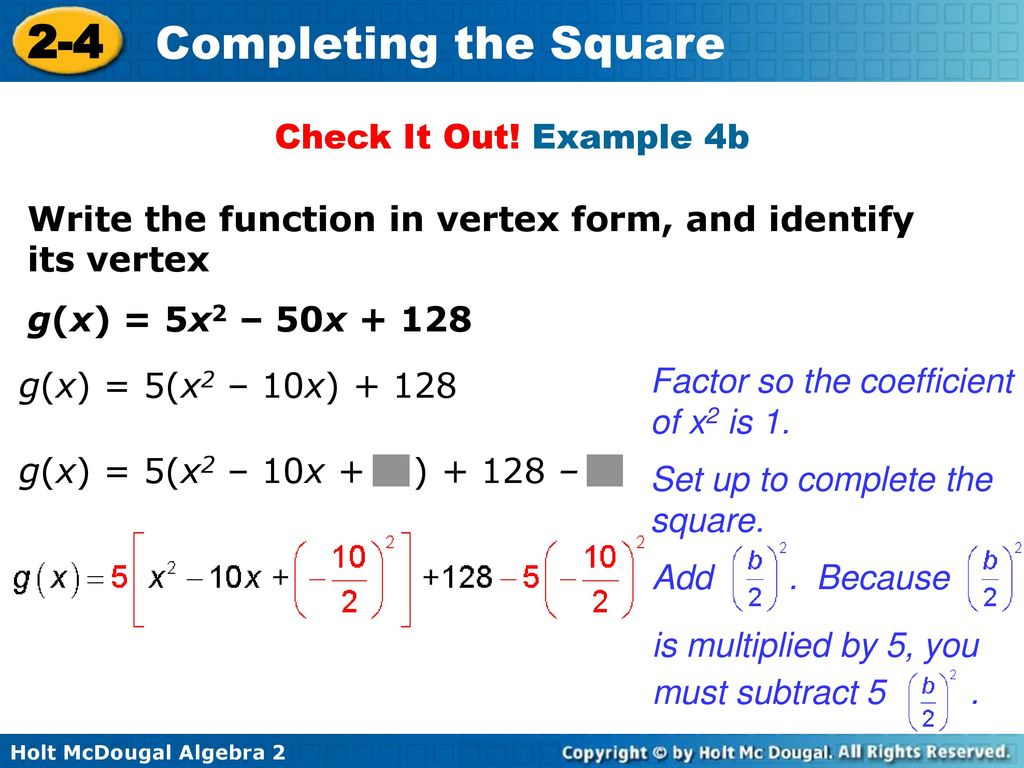 2 4 completing the square warm up lesson presentation lesson quiz example 4b write the function in vertex form and identify its falaconquin