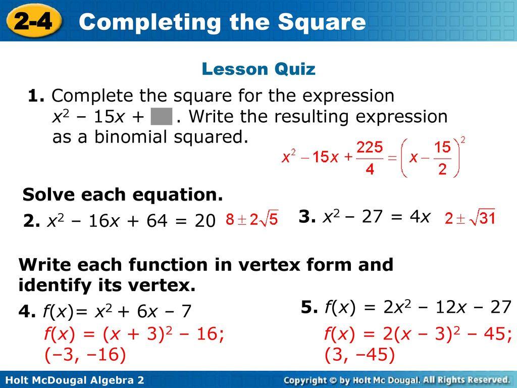 2 4 completing the square warm up lesson presentation lesson quiz 41 lesson falaconquin