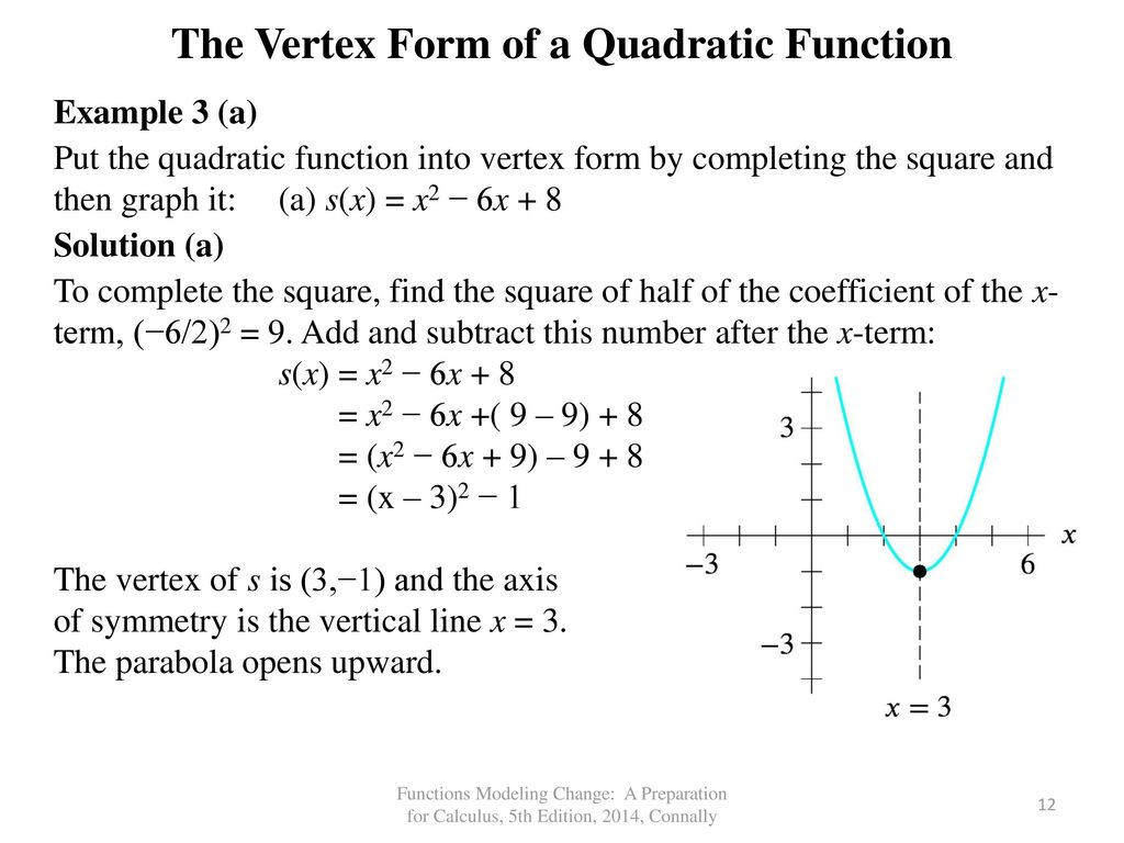 Chapter 3 quadratic functions ppt video online download the vertex form of a quadratic function falaconquin