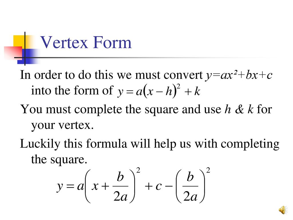 Graphing linear quadratic equations ppt download 9 vertex form falaconquin