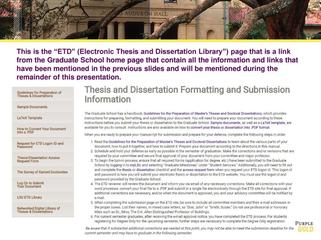 electronic thesis and dissertation etd Welcome the etd resource center website is designed to be your guide to navigating the etd process it is essential that all thesis-masters and doctoral students become familiar with the submission process, registration process, and the formatting requirements.