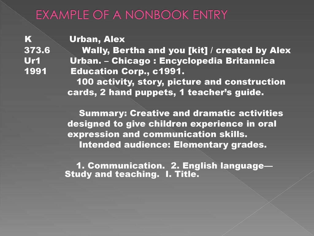 Cataloging of nonbook materials ppt video online download example of a nonbook entry fandeluxe Images
