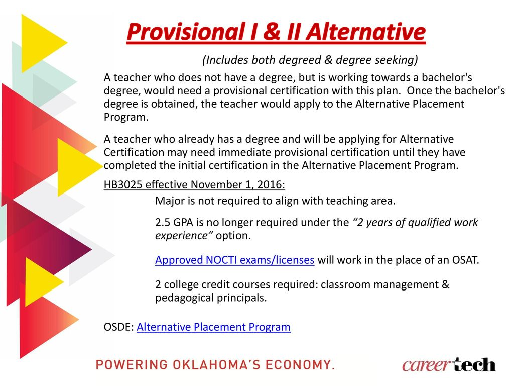 Oklahoma department of career and technology education ppt download provisional i ii alternative 6 alternative certification degreed 1betcityfo Choice Image
