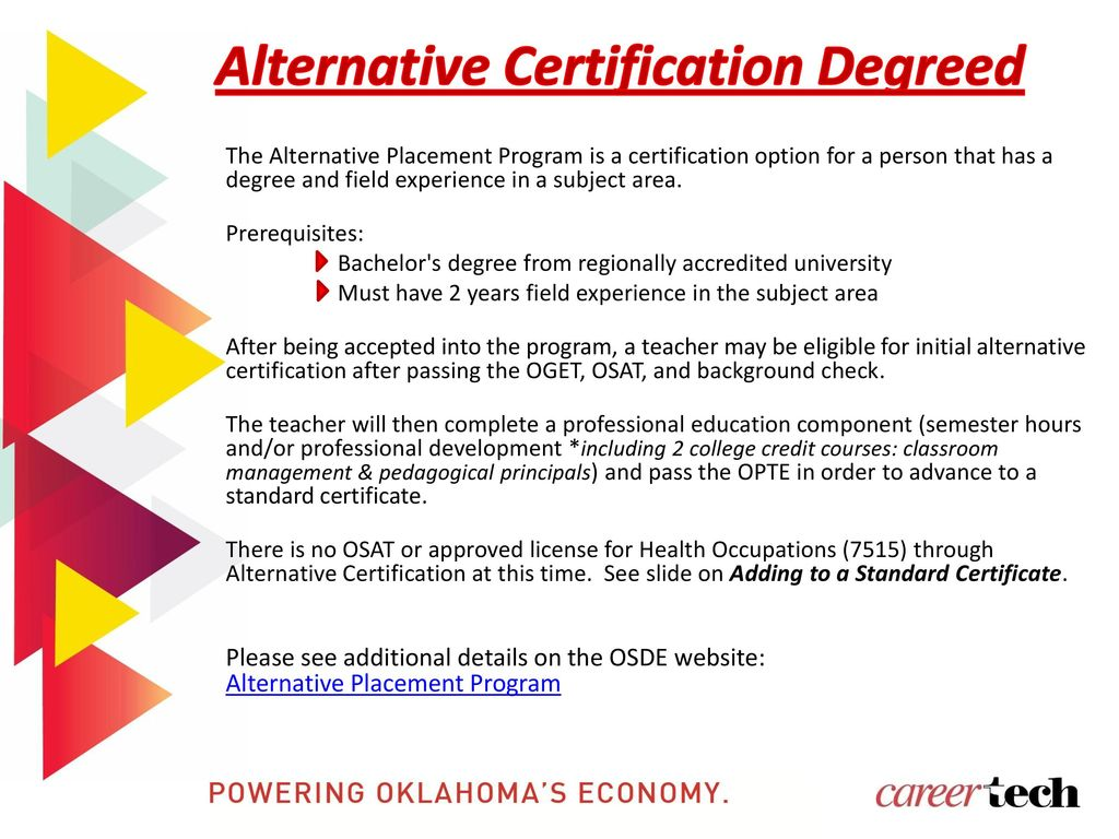 Oklahoma department of career and technology education ppt download alternative certification degreed 1betcityfo Choice Image