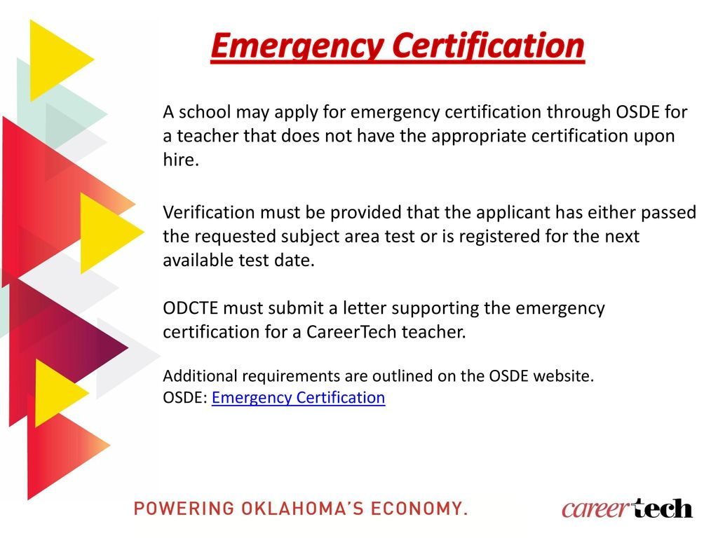 Oklahoma department of career and technology education ppt download emergency certification xflitez Gallery