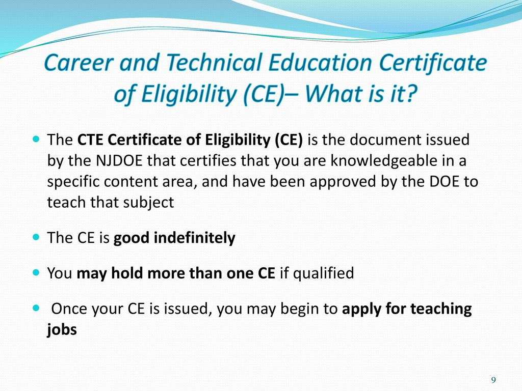New jersey alternate route career and technical education career and technical education certificate of eligibility ce what is it 1betcityfo Images