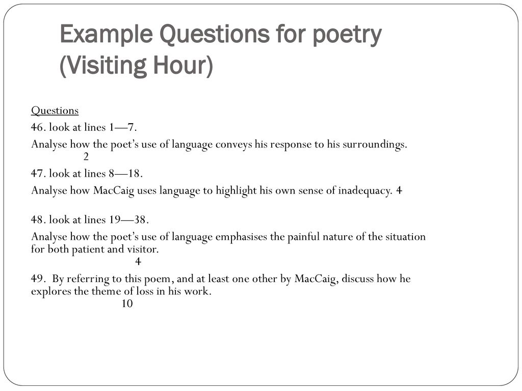 visiting hour essay example Revise maccaig's poem visiting hour for national 5 english where the speaker attempts to maintain his composure while visiting someone who is dying.