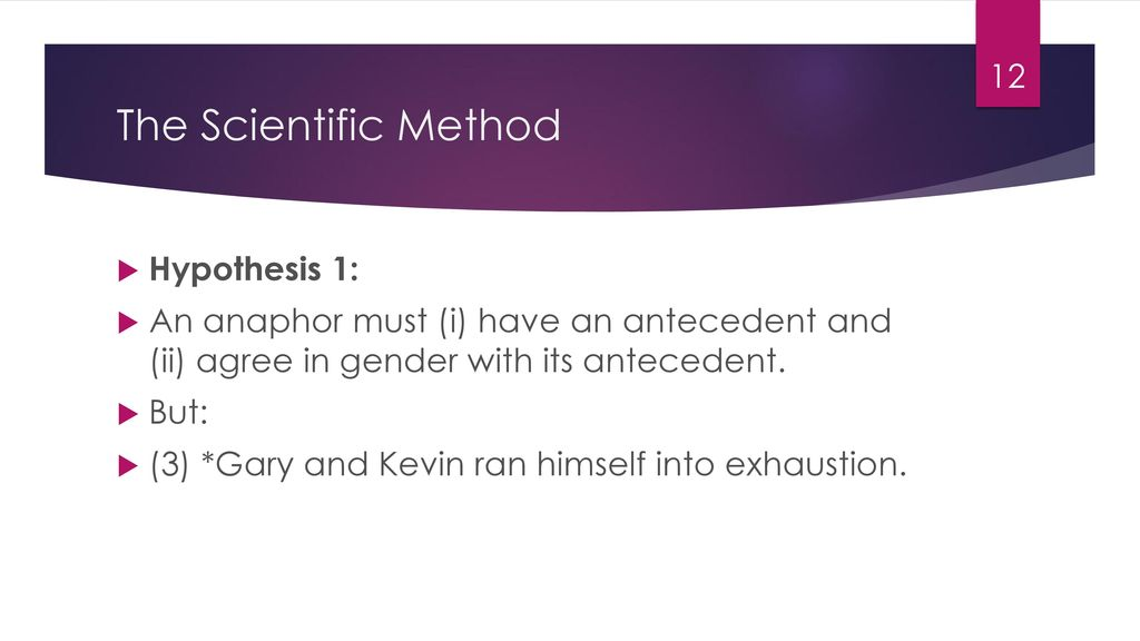 The Scientific Method Hypothesis 1: