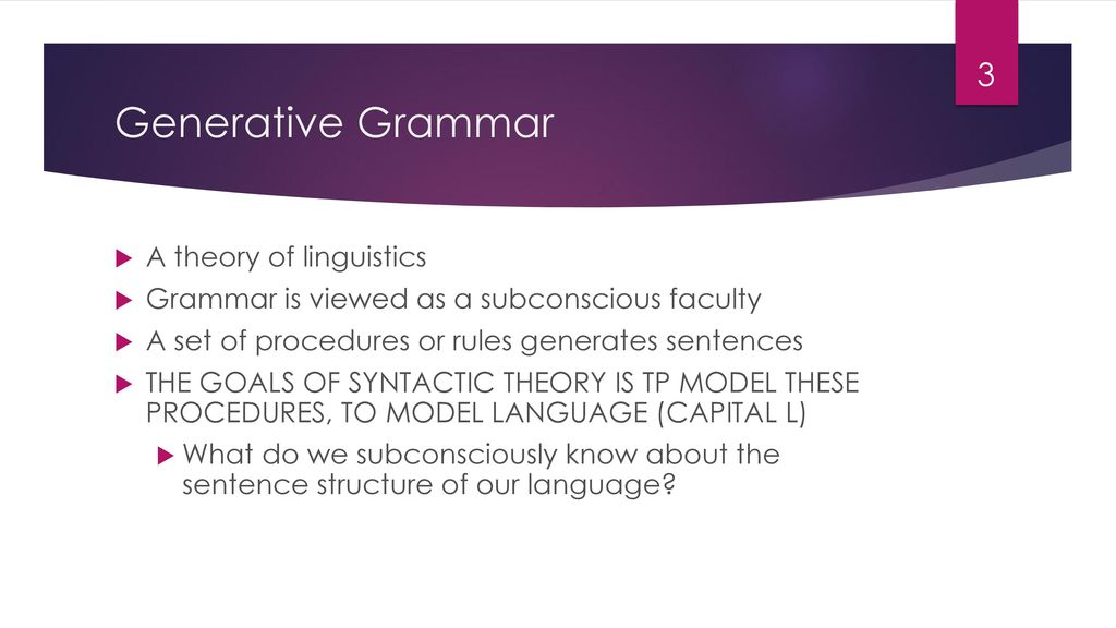 Generative Grammar A theory of linguistics