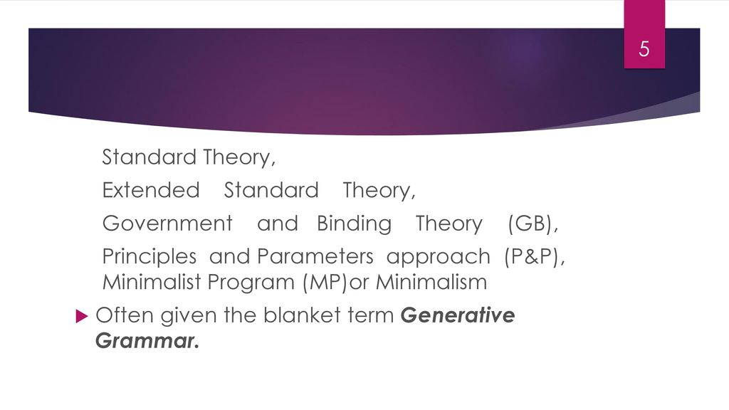 Standard Theory, Extended Standard Theory, Government and Binding Theory (GB),