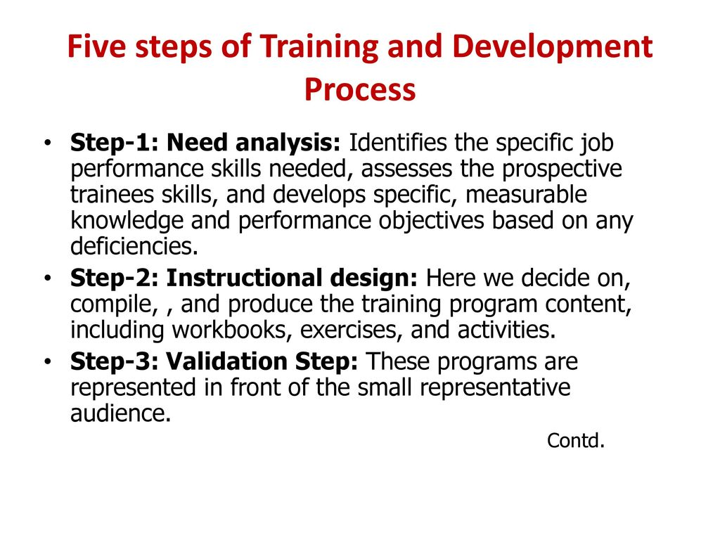 training and development process of a Analysis, design, development, implementation, and evaluation- most closely associated with employee training and development strategic training and development process (slide 6 chapter 2)-business strategy to initiatives to t&d activities to metrics of value of training.