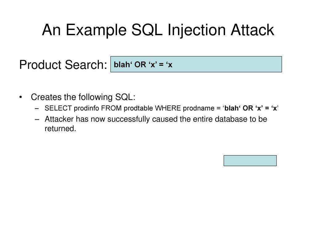 Sql injection attacks ppt download an example sql injection attack baditri Gallery