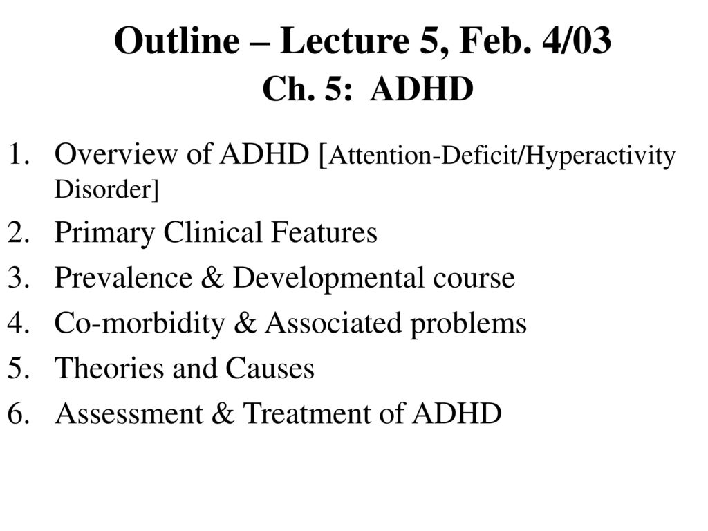 what are the nine symptoms of adhd