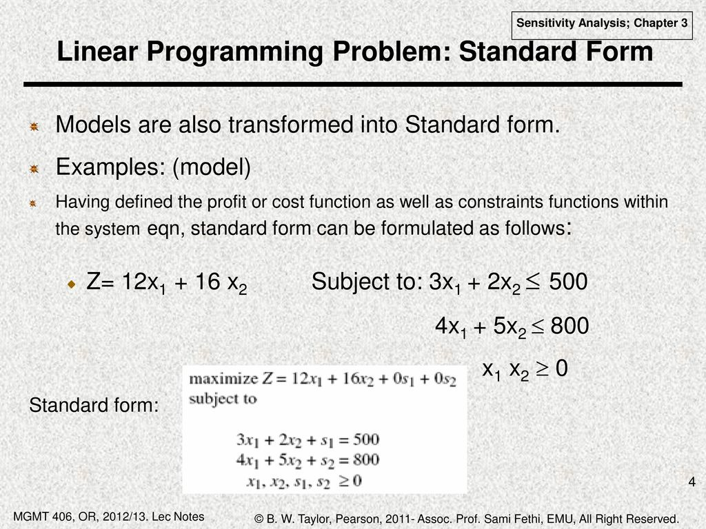 Chapter 3 sensitivity analysis and the dual problem shadow prices linear programming problem standard form falaconquin