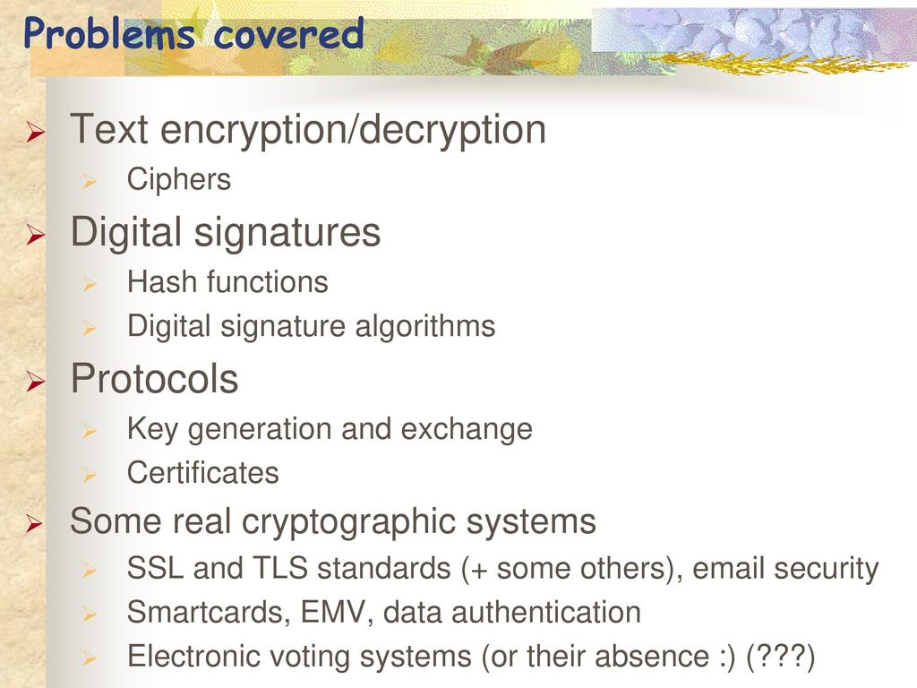 Applied cryptography spring ppt video online download text encryptiondecryption digital signatures xflitez Image collections