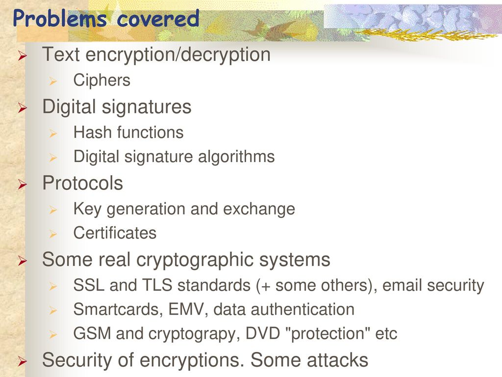 Applied cryptography spring ppt video online download problems covered text encryptiondecryption digital signatures xflitez Image collections