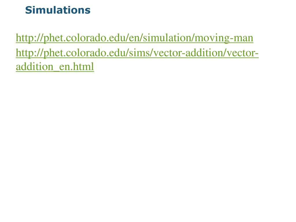 Simulations http://phet colorado edu/en/simulation/moving-man  http://phet colorado edu/sims/vector-addition/vector- addition_en html
