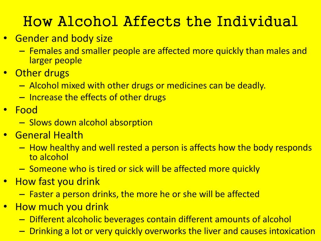 How Alcohol Affects the Individual