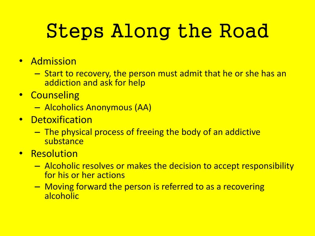 Steps Along the Road Admission Counseling Detoxification Resolution