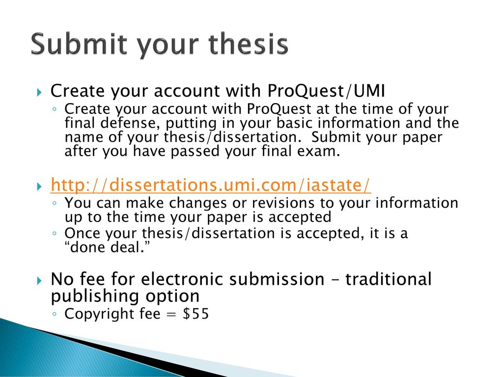 thesis electronic submission (please do not click on the author dashboard link) after creating an account the student goes to the masters theses page or the mfa for poets and writers theses page on scholarworks: scholarworks for ma/ms/mfa (art and theater) all online submissions, forms, paper signatures, and fees.