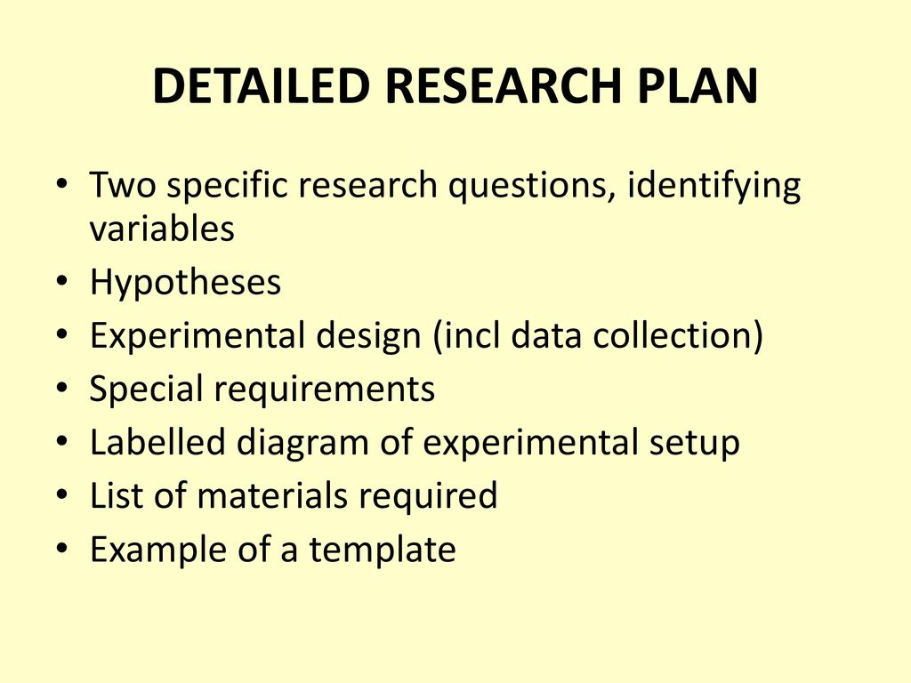 experimental research plan essay