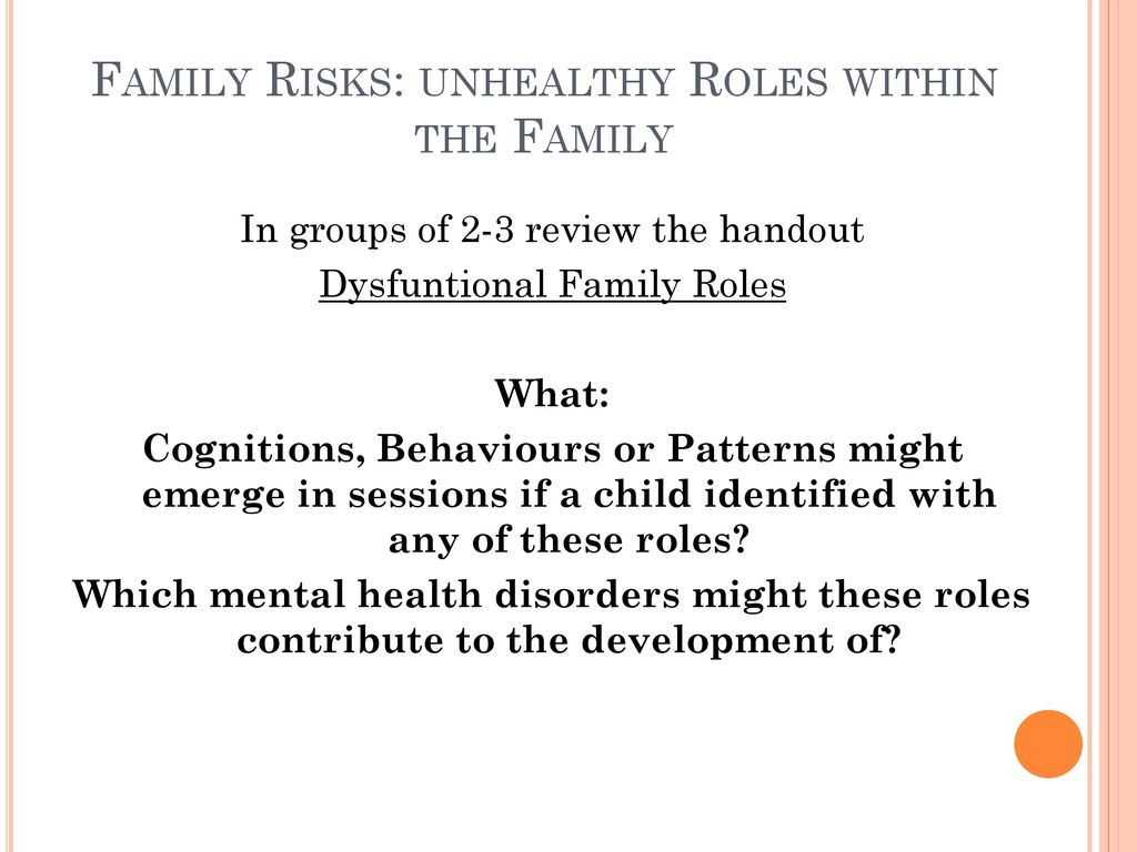 "roles within a family They call the part we play in our family the ""role"" in her book, tools for your  toolbox, susan hanson defines the four roles check it out and see if you can  find."