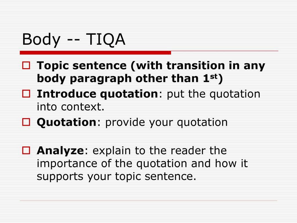 Explain quotation essay