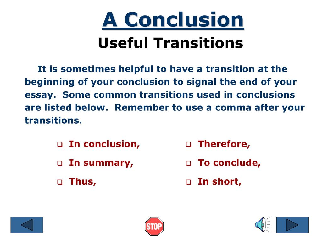 Good essay conclusion transitions