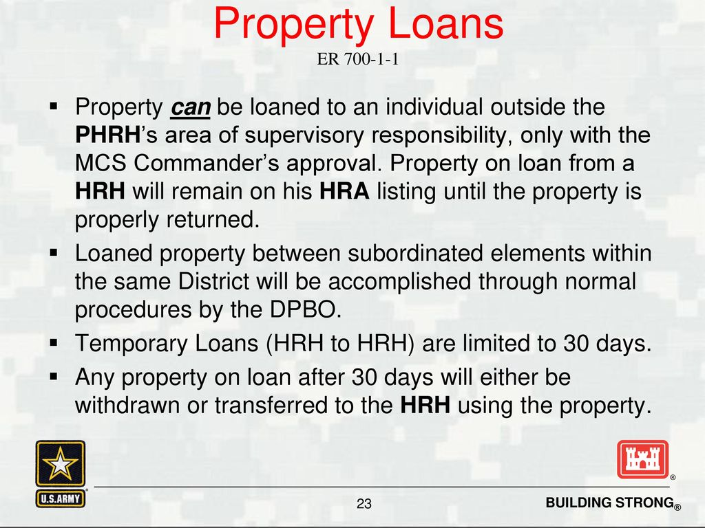 Know your role a hand receipt holder s guide to property for Loan for land only
