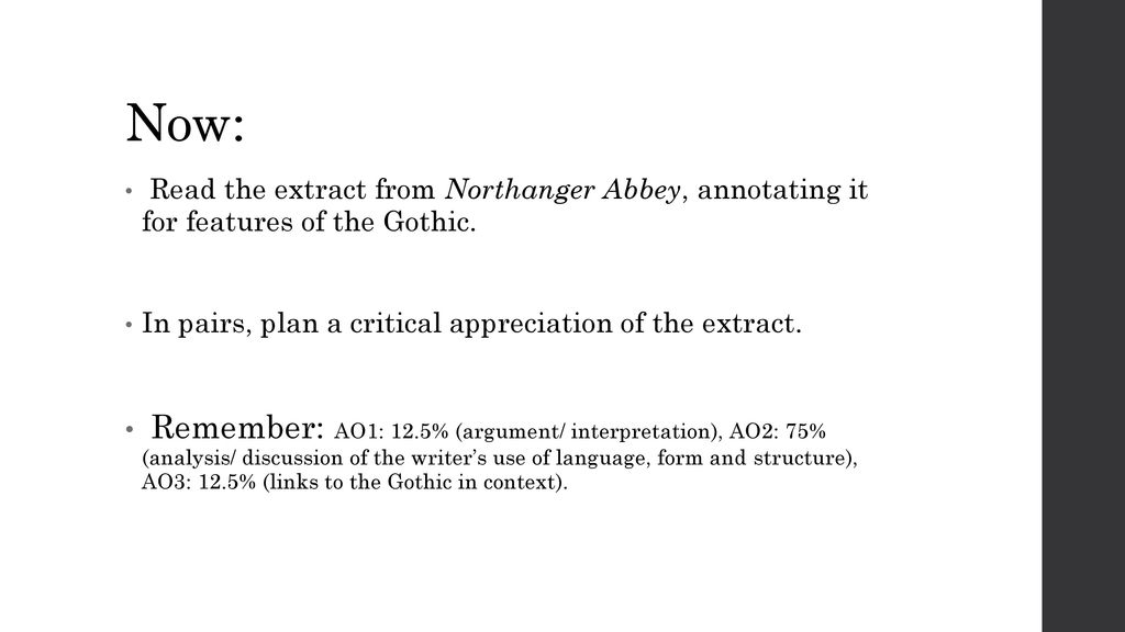 Late gothic ppt download now read the extract from northanger abbey annotating it for features of the gothic ccuart Images