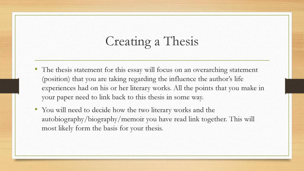 Generating a thesis