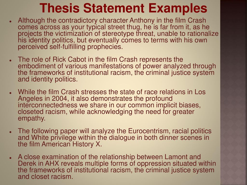 discrimination thesis statement examples