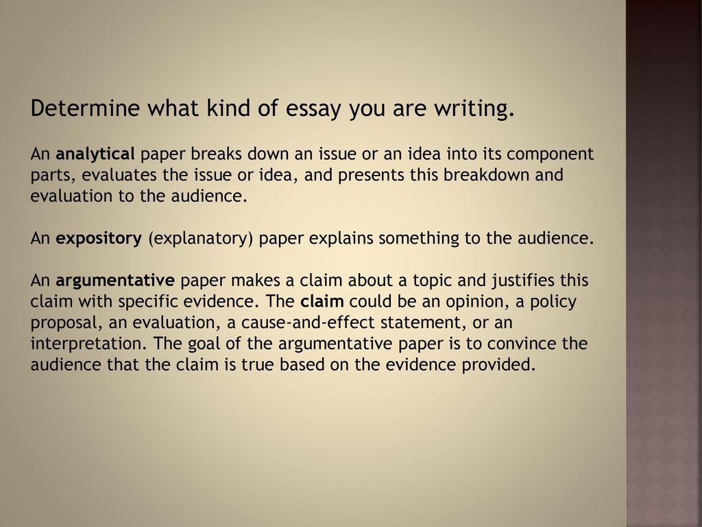 what kind of essay am i writing There is no single correct way to go about writing a who am i essay one easy way to write a who am i essay is to pick three characteristics about yourself and use those for the basis of the paper using three characteristics fits perfectly into a basic five-paragraph format with an introduction .