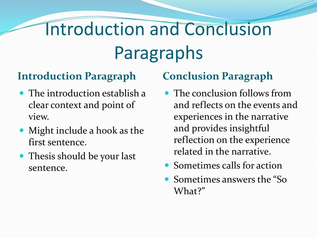 what should the concluding paragraph of a narrative essay include The introductory paragraph should also include the thesis statement, a kind of   the last sentence in this paragraph should include a transitional concluding.